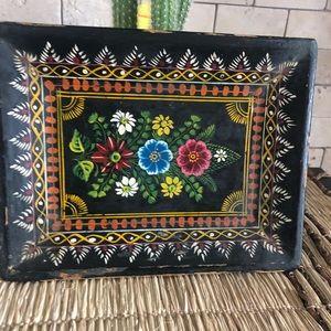 Vintage Folk art painted black wood tray
